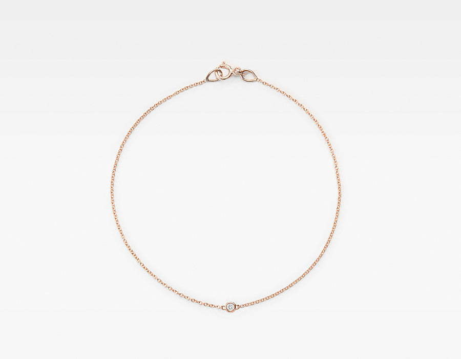 14k Rose Gold Minimalist Diamond Bracelet