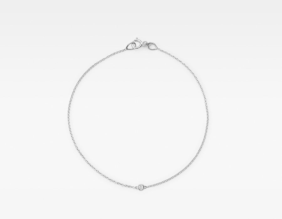Tiny 14k White Gold Solitaire Diamond Bracelet