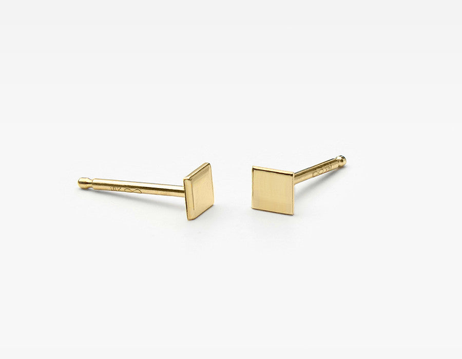 Minimalist 14k Yellow Gold Square Stud Earrings