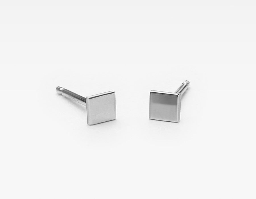 Tiny White Gold Stud Earings