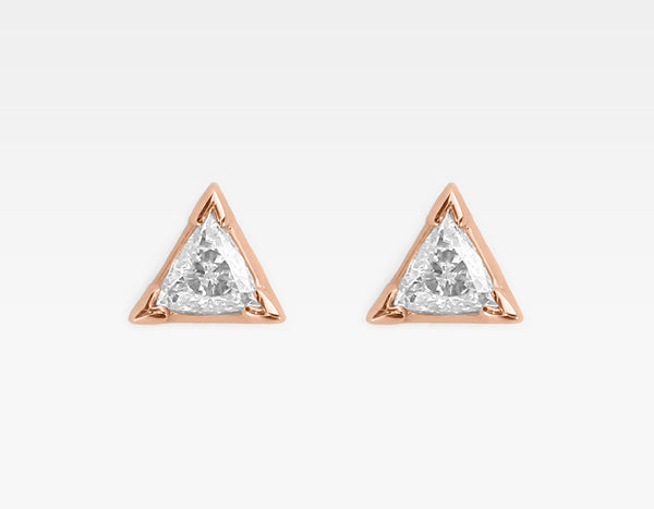 Trillion Diamond Earrings in 14k Rose Gold