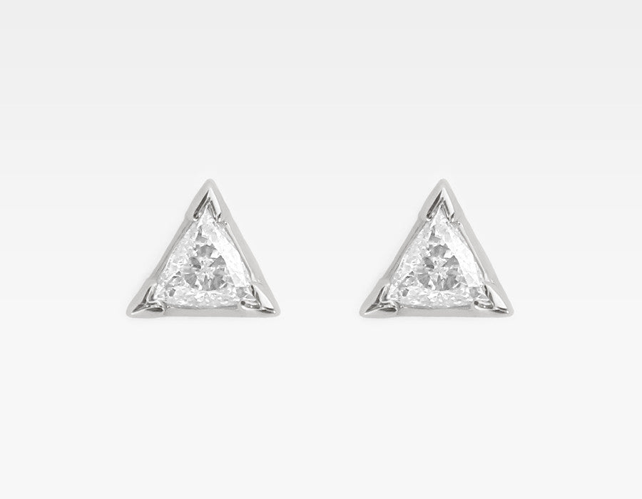Trillion Diamond Earrings in 14k White Gold