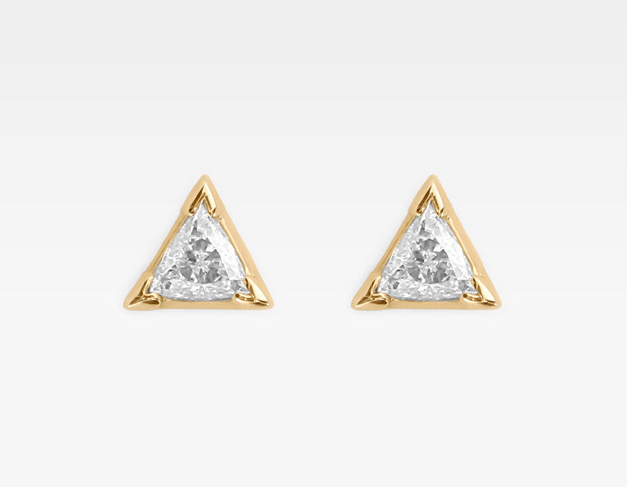 Trillion Diamond Earrings in 14k Yellow Gold