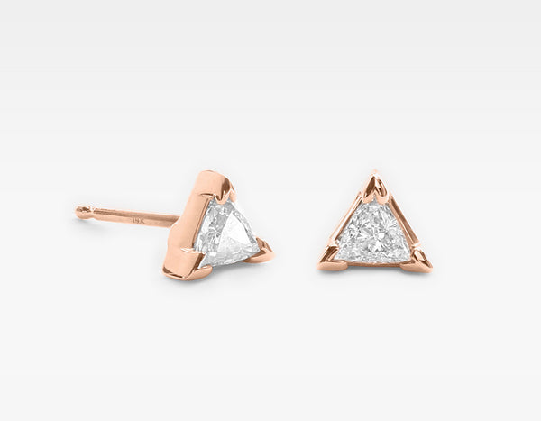 Triangle Diamond Earrings in 14k Rose Gold