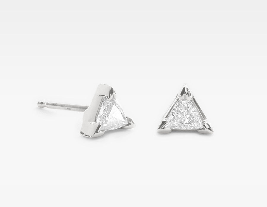 Triangle Diamond Earrings in 14k White Gold