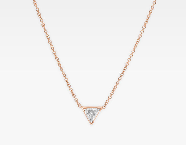 Trillion Cut Diamond Necklace 14k Rose Gold