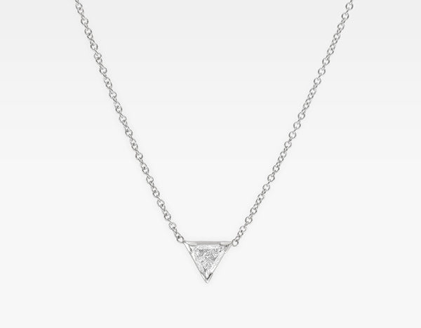 Trillion Cut Diamond Necklace 14k White Gold