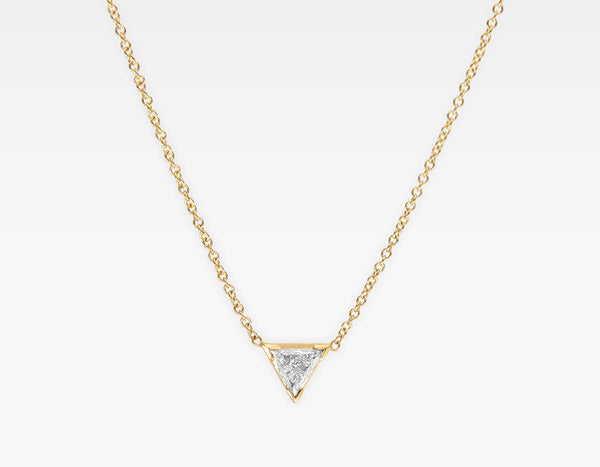 Trillion Cut Diamond Necklace 14k Yellow Gold