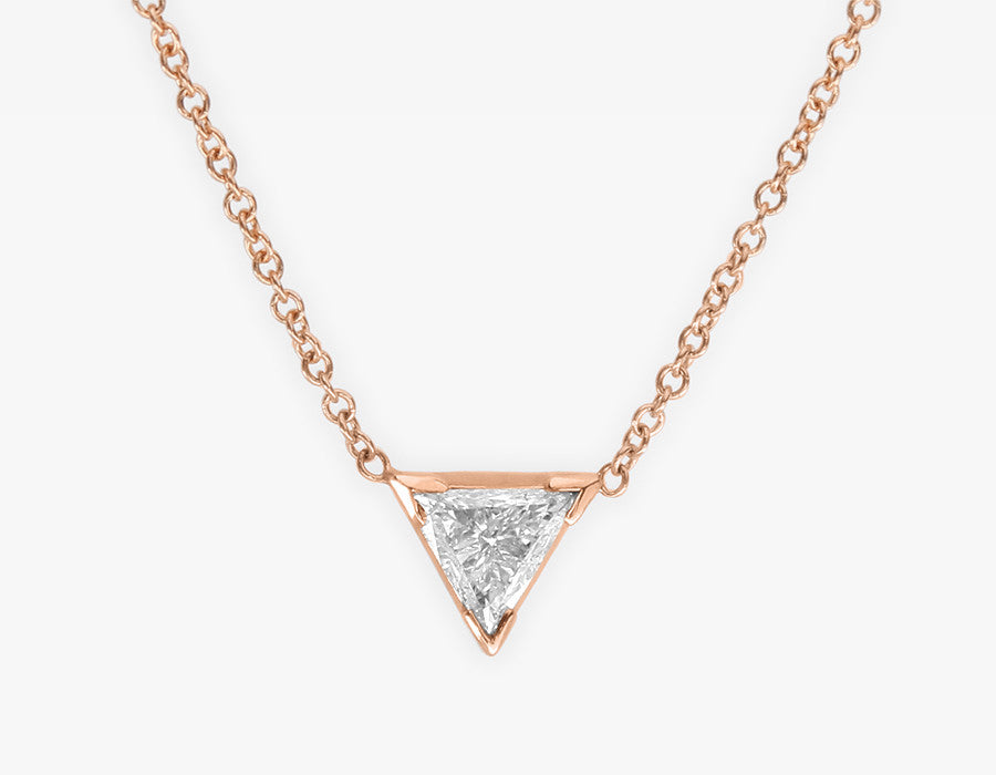 Triangle Diamond Necklace 14k Rose Gold