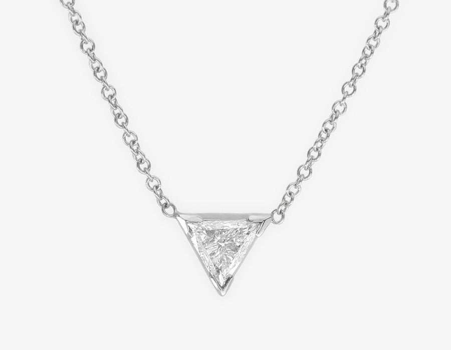 Triangle Diamond Necklace 14k White Gold