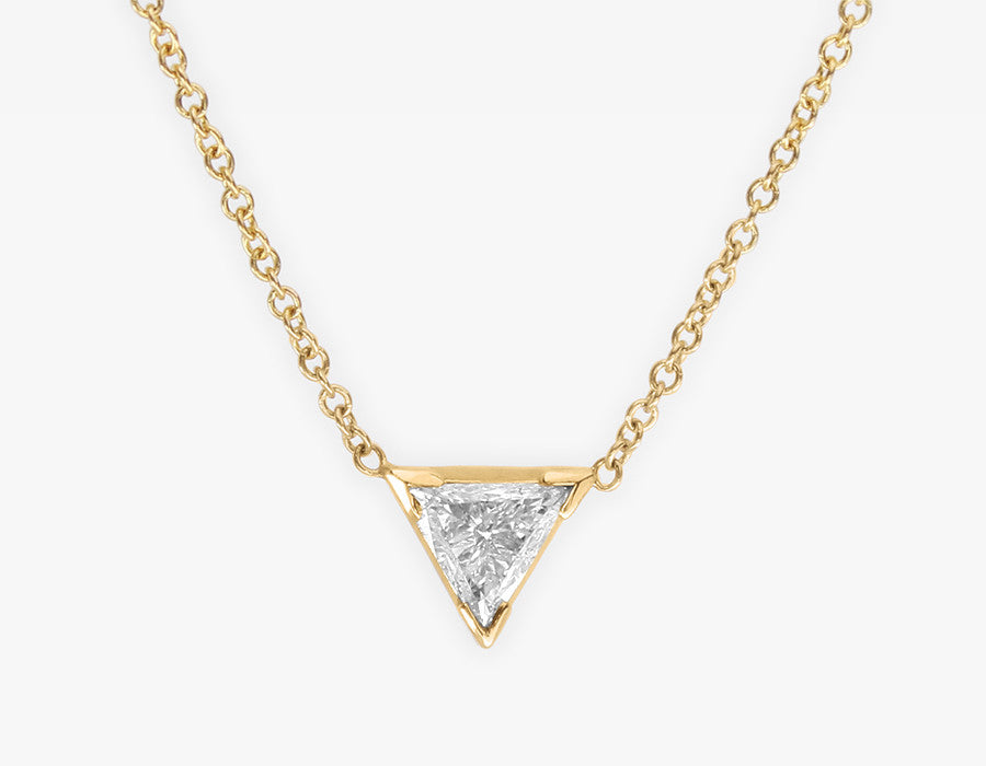 Triangle Diamond Necklace 14k Yellow Gold