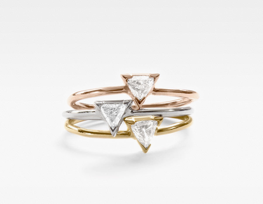 14k Gold Triangle Diamond Rings Stacked