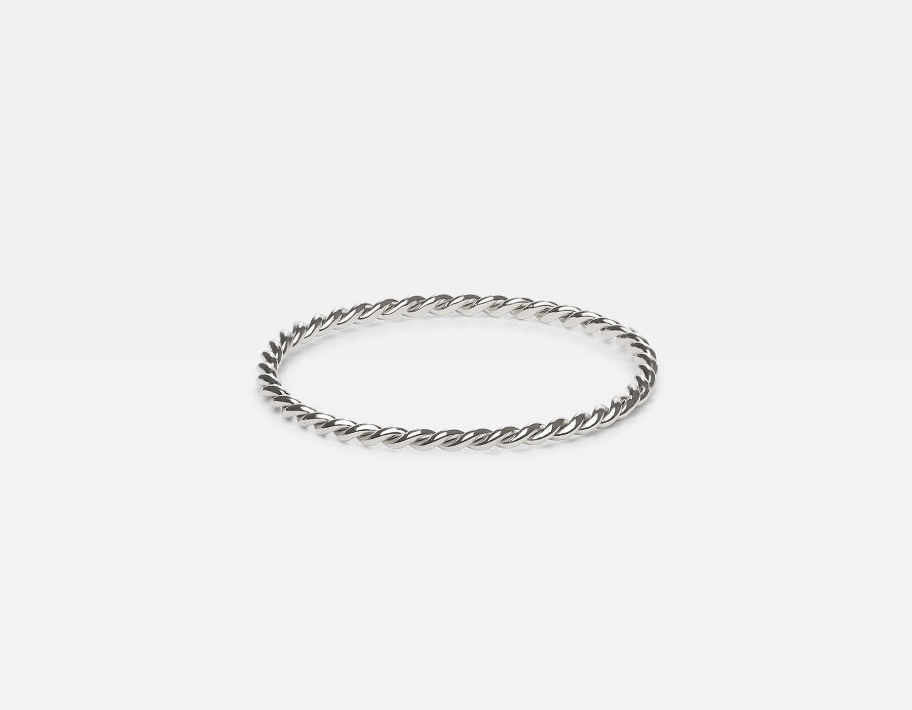 White Gold Minimalist Twisted Ring
