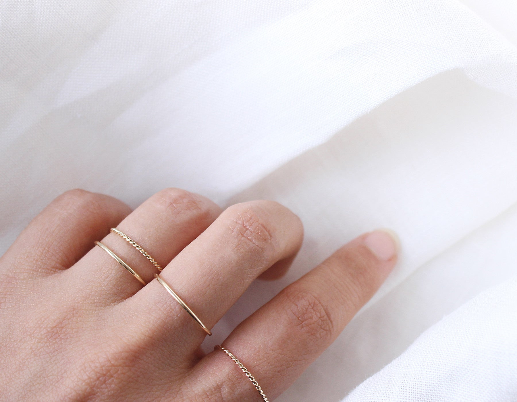 Real Gold Minimalist Stacking Rings