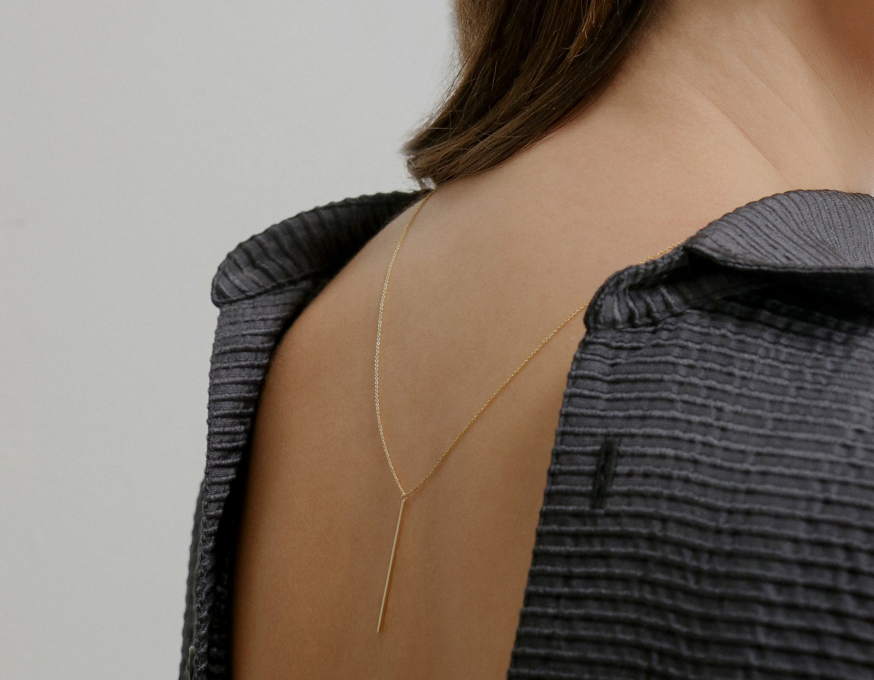 Vertical Bar Necklace from Vrai & Oro