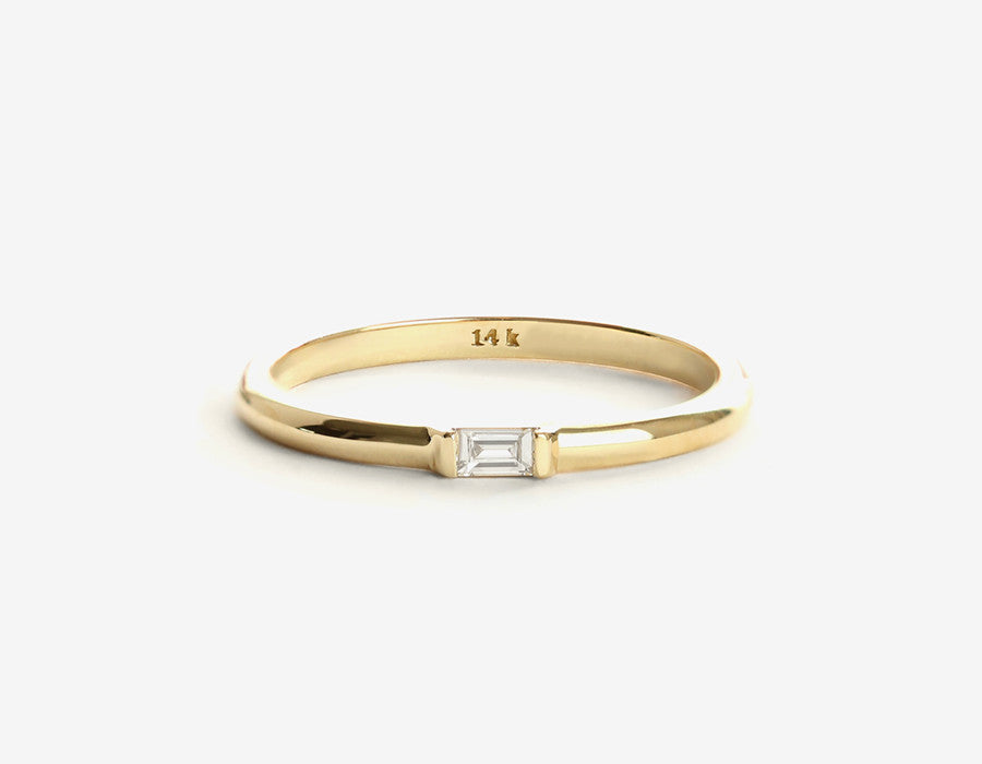 14k yellow gold baguette diamond ring