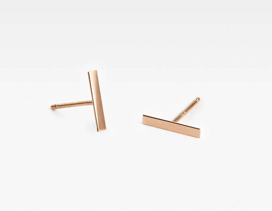 14k Rose Gold Line Bar Earrings