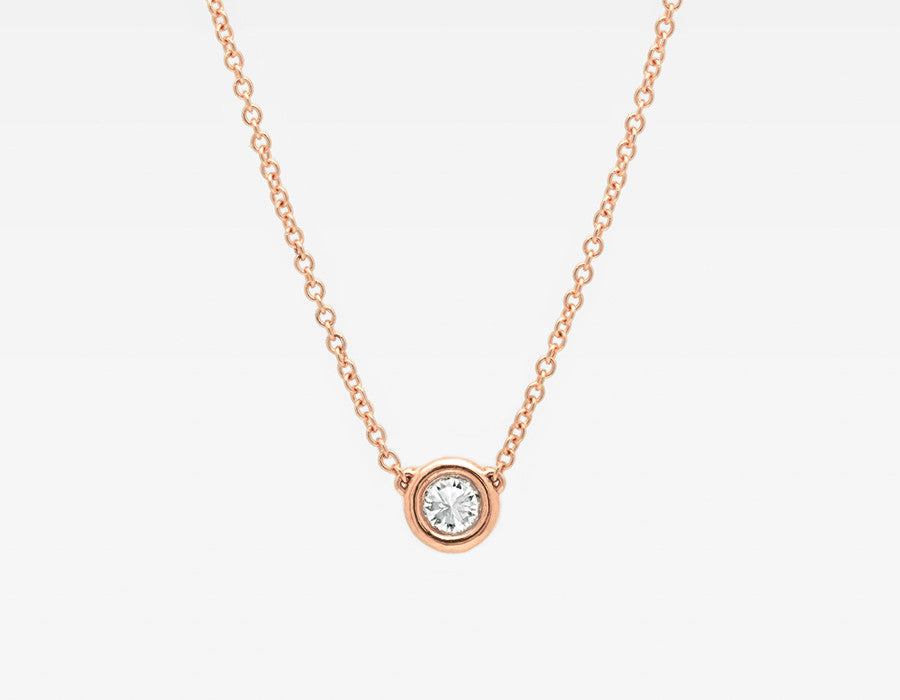 Dainty Diamond Necklace in Rose Gold