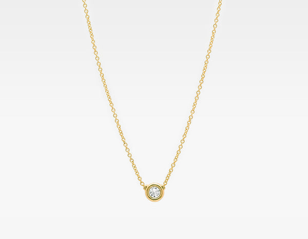 Yellow Gold Solitaire Diamond Necklace