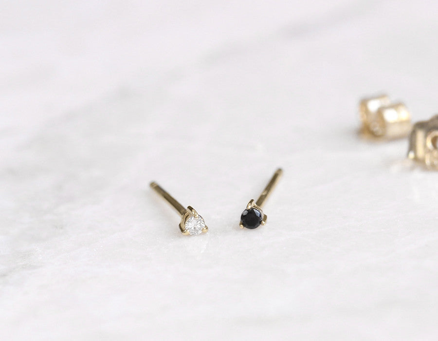 tiny white and black diamond stud earrings