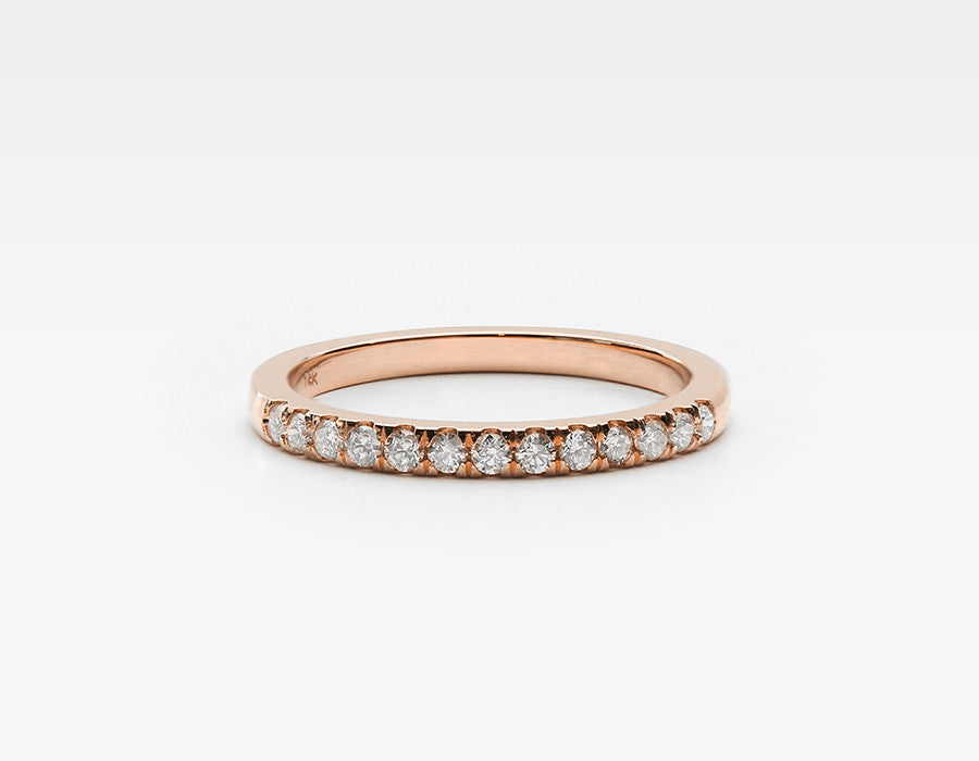 White Diamond Band in Rose Gold