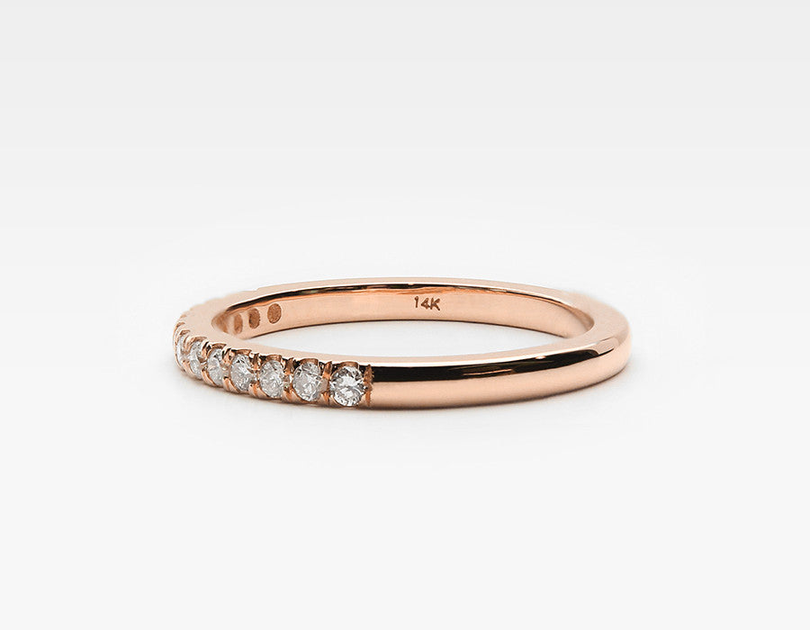 Rose Gold Wedding Band with Diamonds