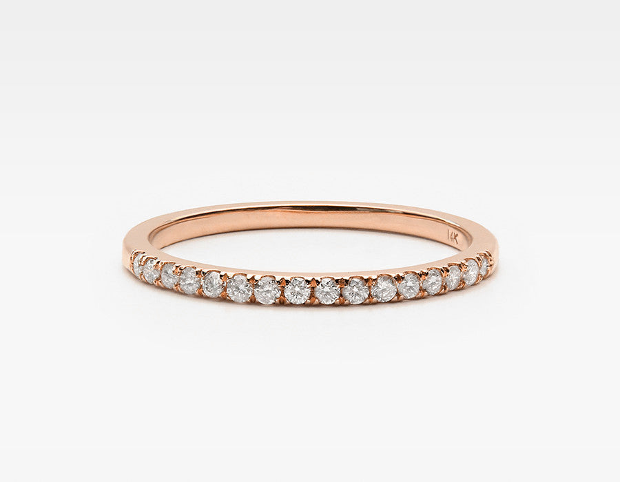 Tiny White Diamond Ring in Rose Gold