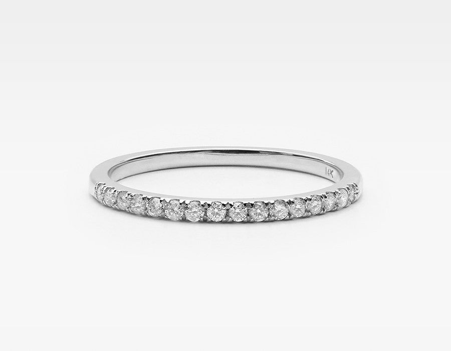 Tiny White Diamond Ring in White Gold