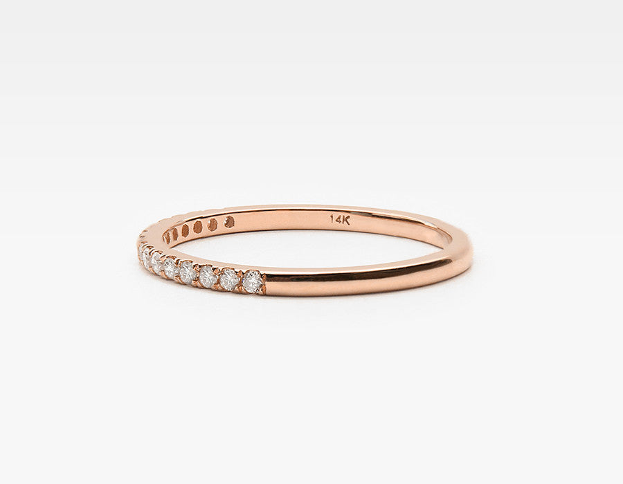 Tiny Diamond Band Ring in Rose Gold