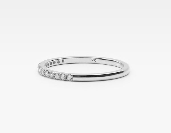 Tiny Diamond Band Ring in White Gold