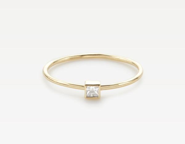 Square White Diamond Ring