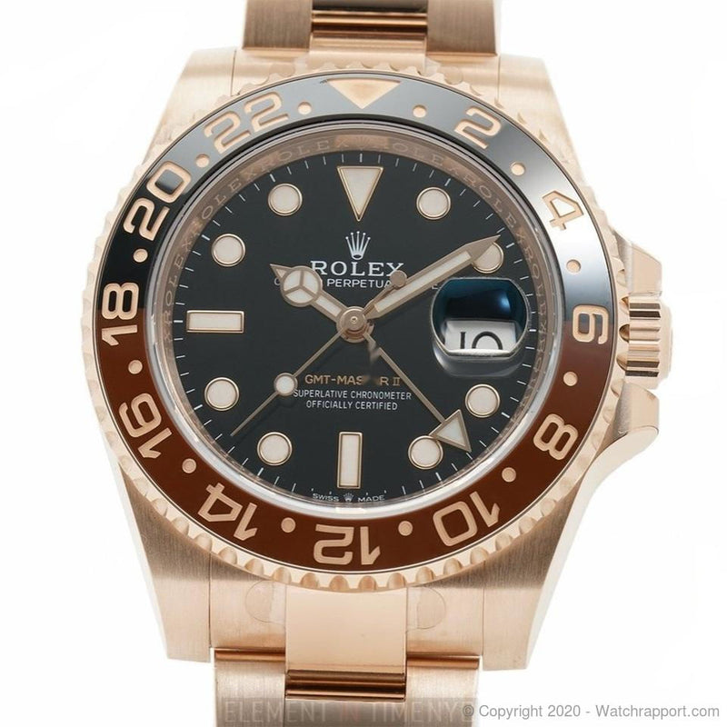 Rolex GMT-Master II Rootbeer 18k Rose Gold And Ceramic Bezel 40mm - Watch Rapport