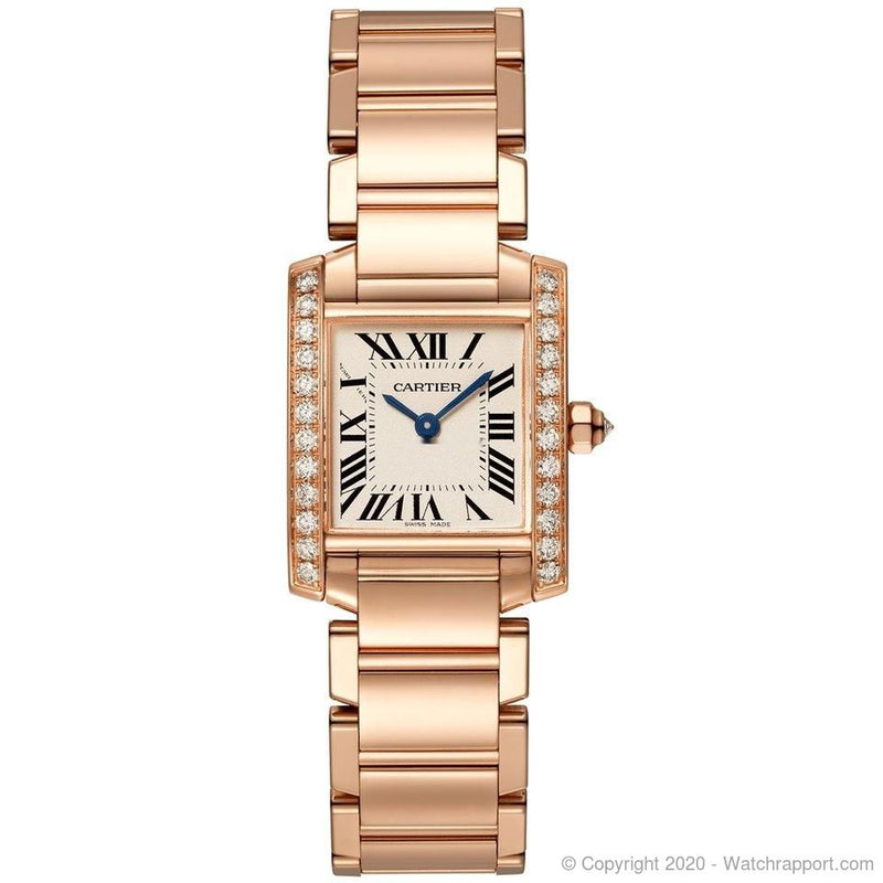 Cartier Tank Small Model Rose Gold Diamonds Silvered Dial New - Watch Rapport