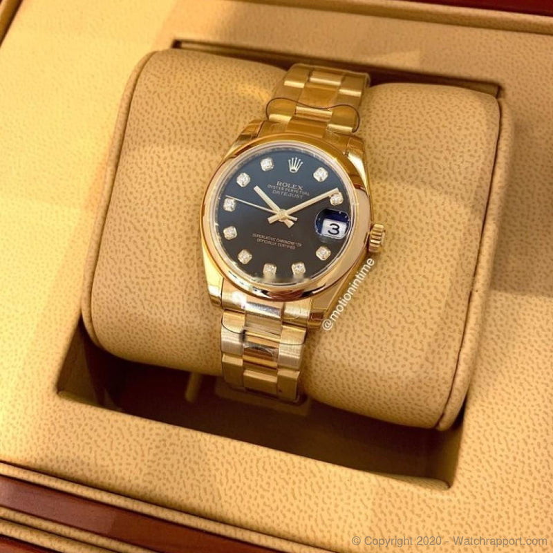 Rolex Datejust 31mm President, Black Diamond Dial - Yellow Gold - Watch Rapport