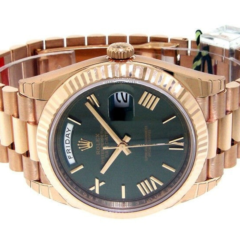 Rolex Day Date 228235 Presidential 40 Mm 18k Everose Gold Olive Green Roman