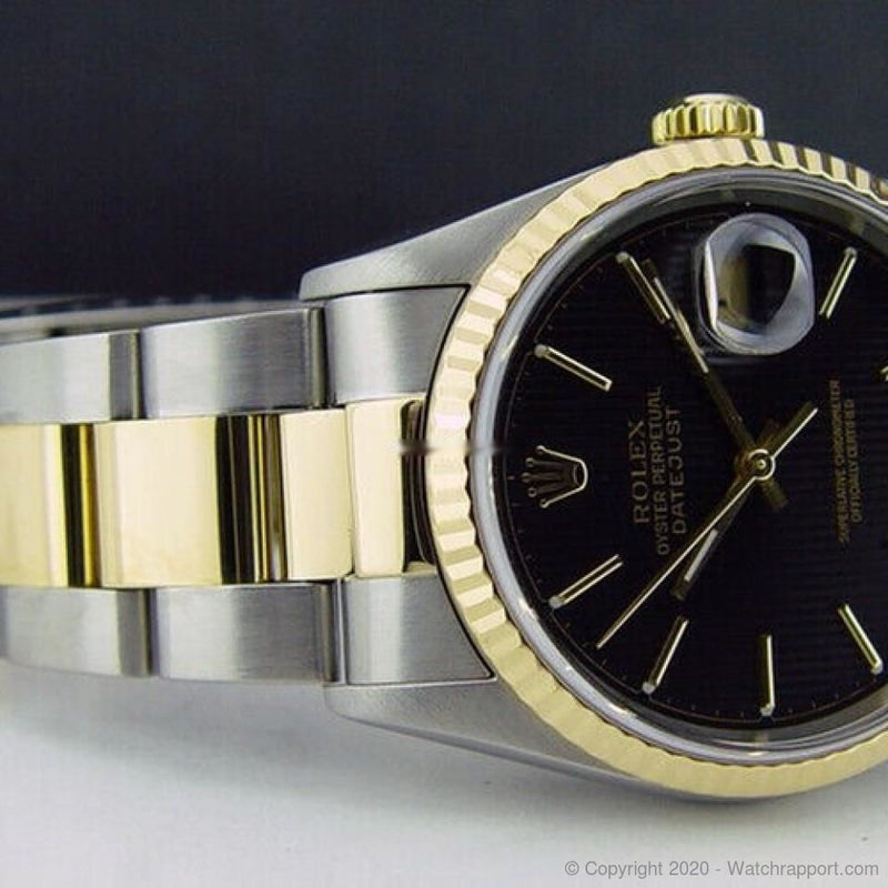 Rolex Mens 18kt Gold & Stainless DateJust Black Stick 16233 SANT BLANC - Watch Rapport