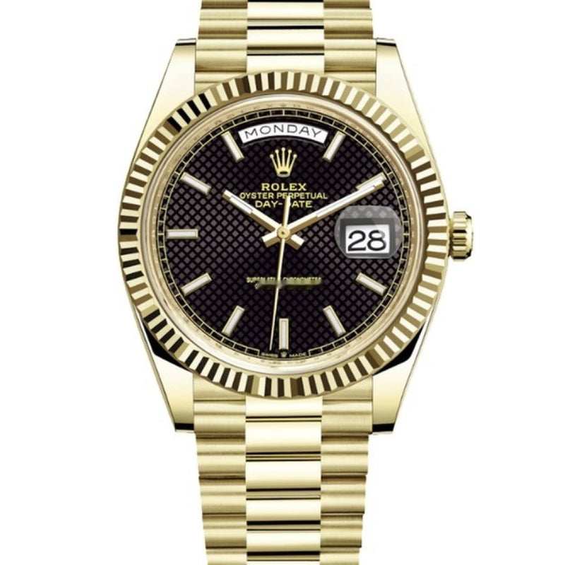 Rolex Day-Date 40 18kt Yellow Gold Black Motif Dial