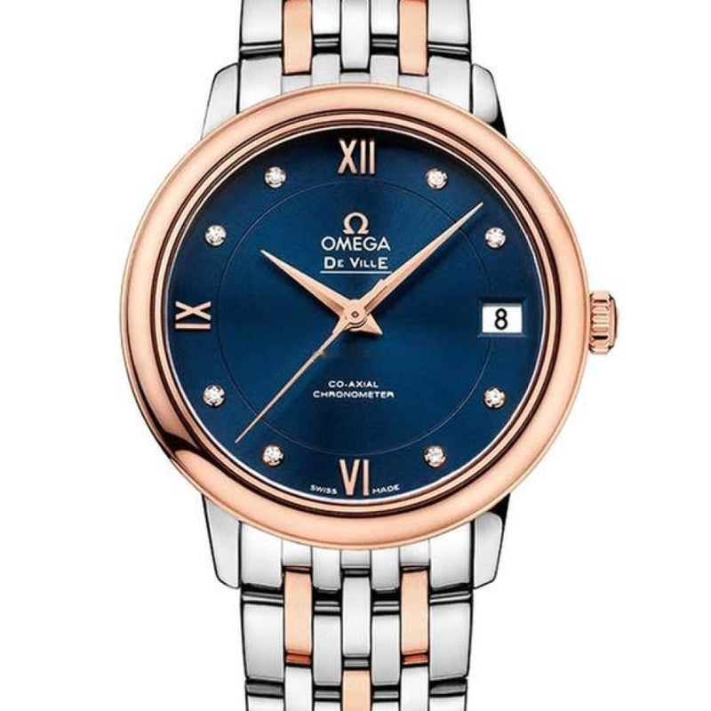 Omega De Vile Prestige Co-Axial 18K Red Gold & Stainless Steel Ladies Watch 424.20.33.20.53.001