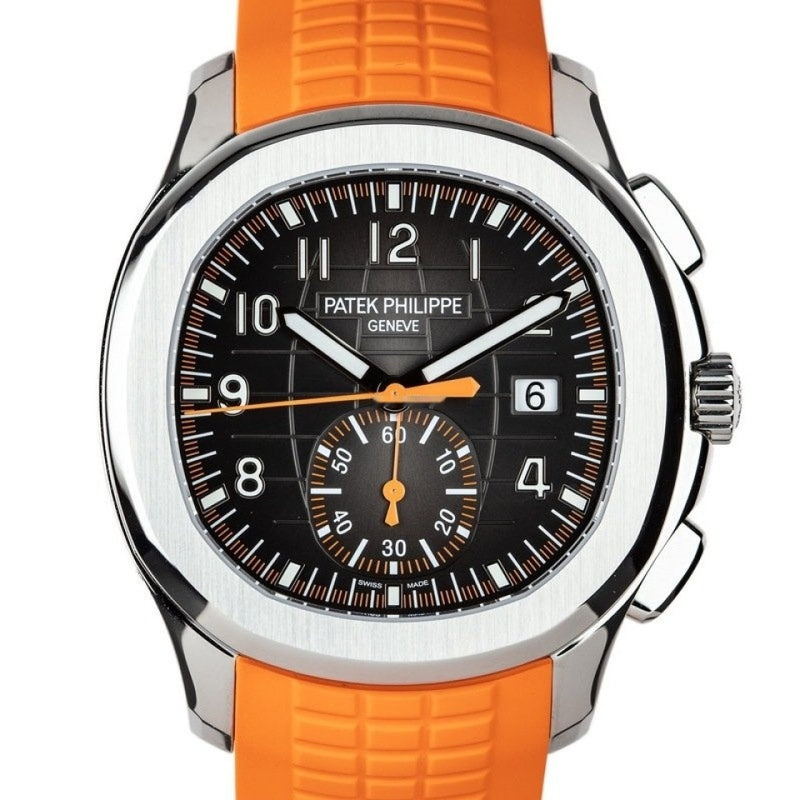 Patek Philippe Aquanaut Black Dial Orange Accent Steel Complete and Unworn