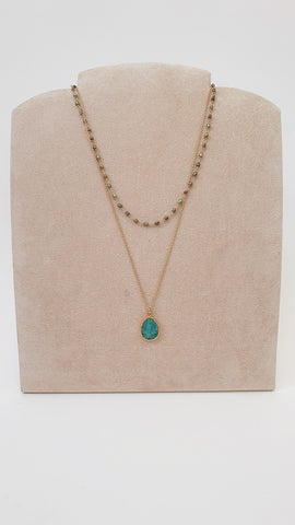 DOUBLE AMAZONITE PEARL NECKLACE