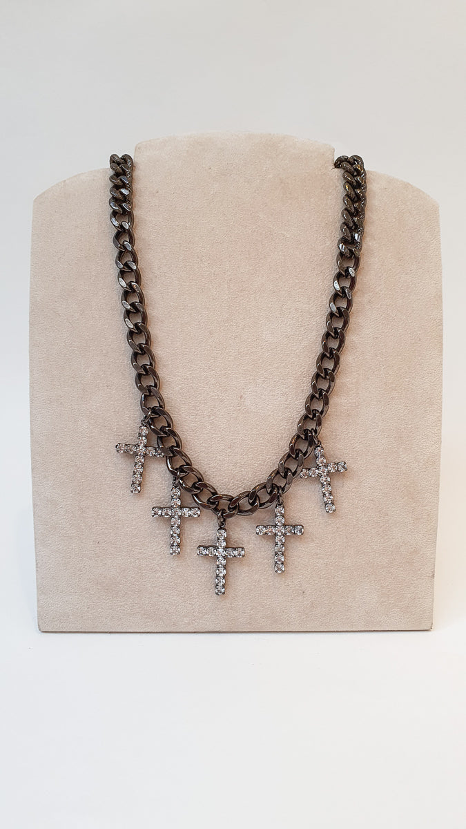 Chunky chain necklace with diamanté's crosses. Gunmetal colour with diamanté crosses.  Made in New York.