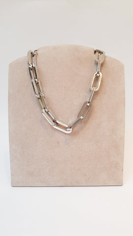 Trendy silver plated chunky style chain necklace.  Made in New York.