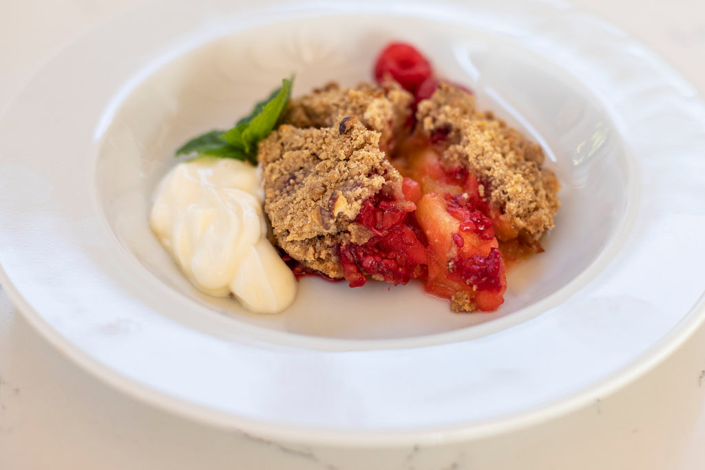 Apple Raspberry and Almond Crumble