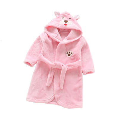 Ours Malin Robe de Chambre Fille Rose