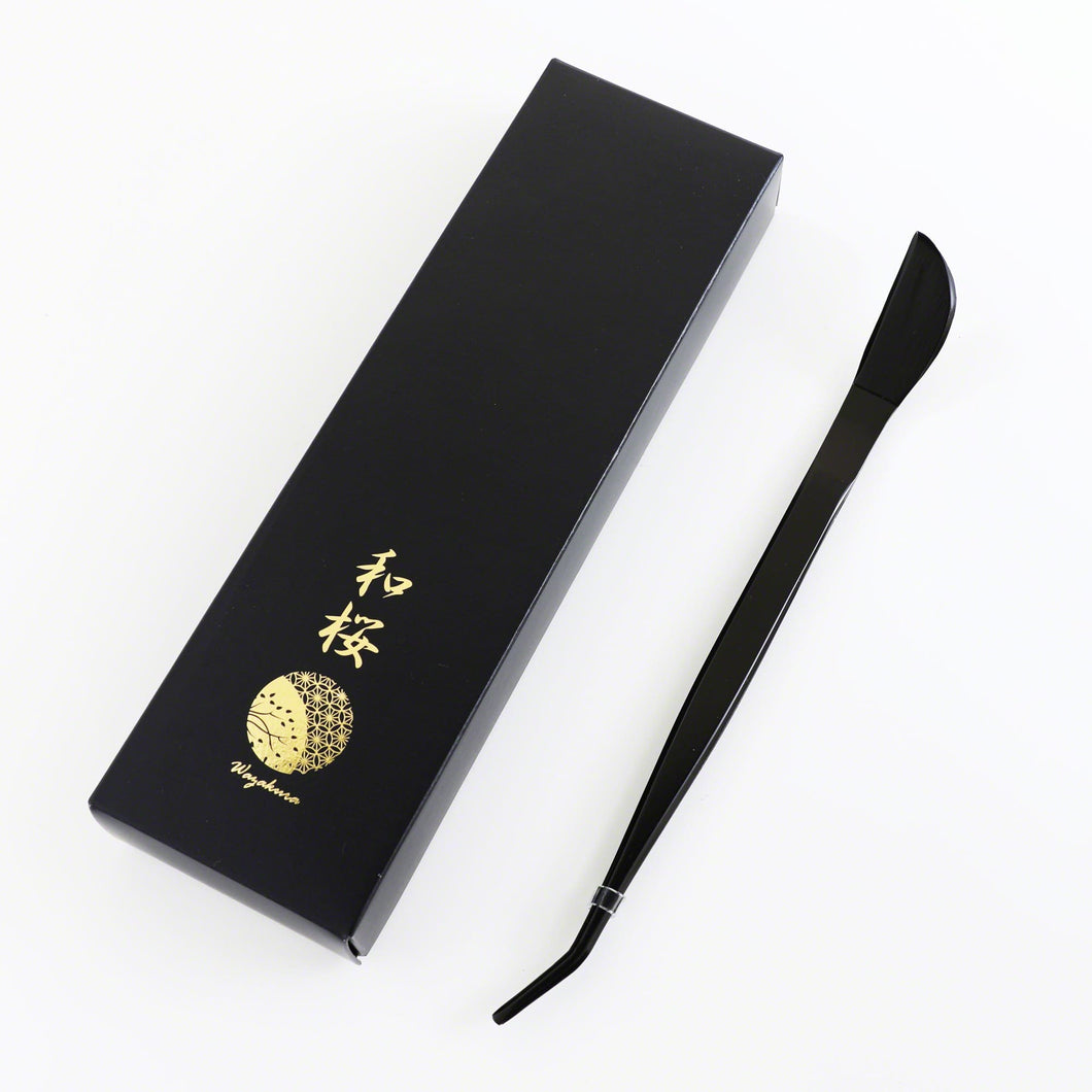 Premium Black Coated Bonsai Curved Tip Tweezer with Spatula 8.6in(220mm)