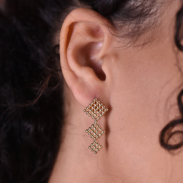 Triple Button Earrings - Gold