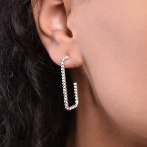 Twisted Rectangle Earrings - Silver