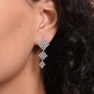 Triple Button Earrings - Silver