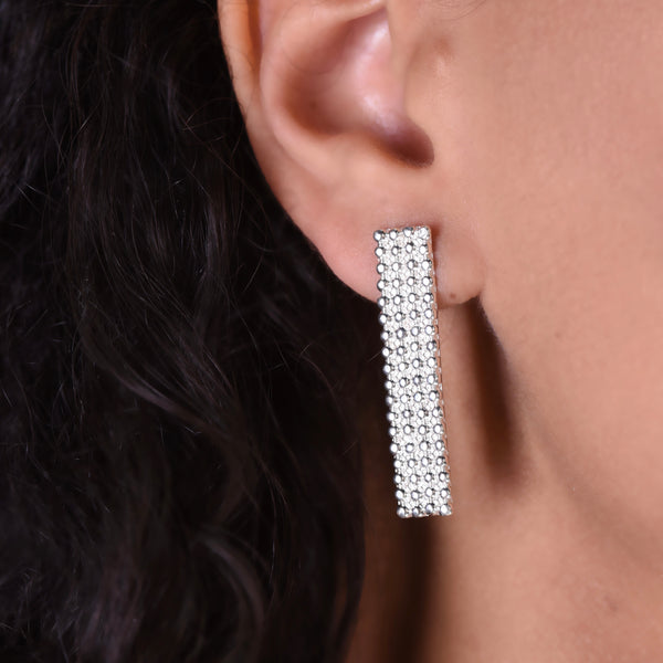 Line Dots Earrings - Silver