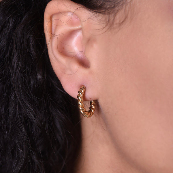 Mini Twisted Hoops - Gold